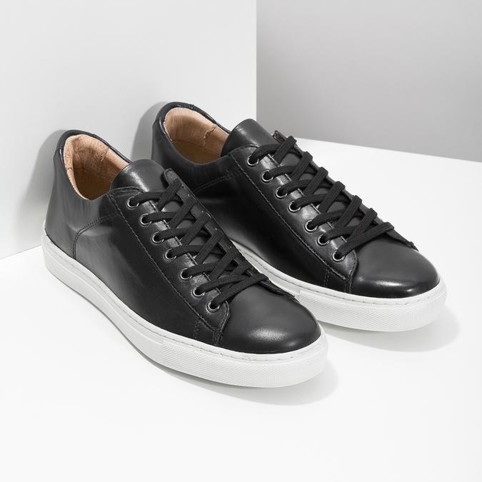 Pánske kožené tenisky bata, čierna, 844-6648 - 26