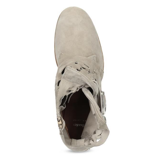 Kožené členkové čižmy s prestrihmi bata, šedá, 596-2689 - 17