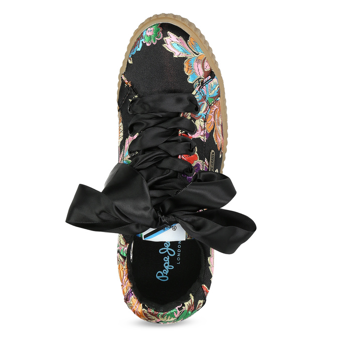 Tenisky s výšivkou a mašľou pepe-jeans, čierna, 549-6075 - 17