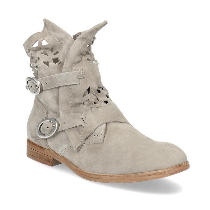 Kožené členkové čižmy s prestrihmi bata, šedá, 596-2689 - 13