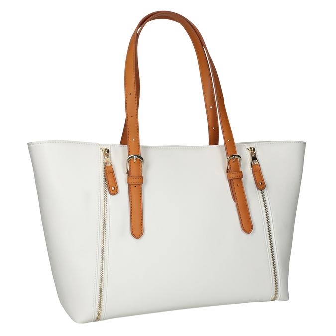 Krémová kabelka s ozdobnými zipsami bata, biela, 961-1840 - 13