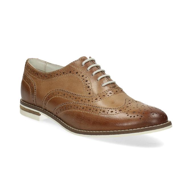 Hnedé dámske kožené poltopánky bata, hnedá, 526-3649 - 13