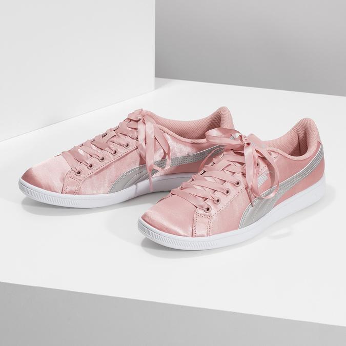 Ružové saténové tenisky s mašľou puma, ružová, 509-5718 - 16