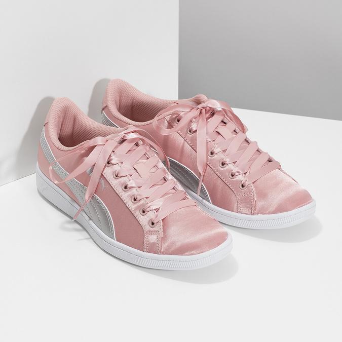 Ružové saténové tenisky s mašľou puma, ružová, 509-5718 - 26