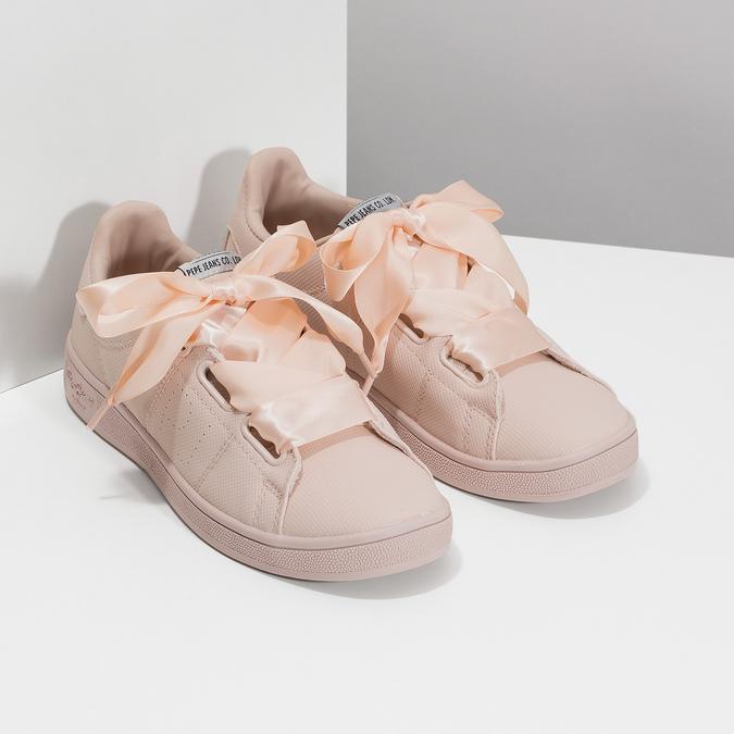 Ružové tenisky so saténovou mašľou pepe-jeans, ružová, 541-5076 - 26