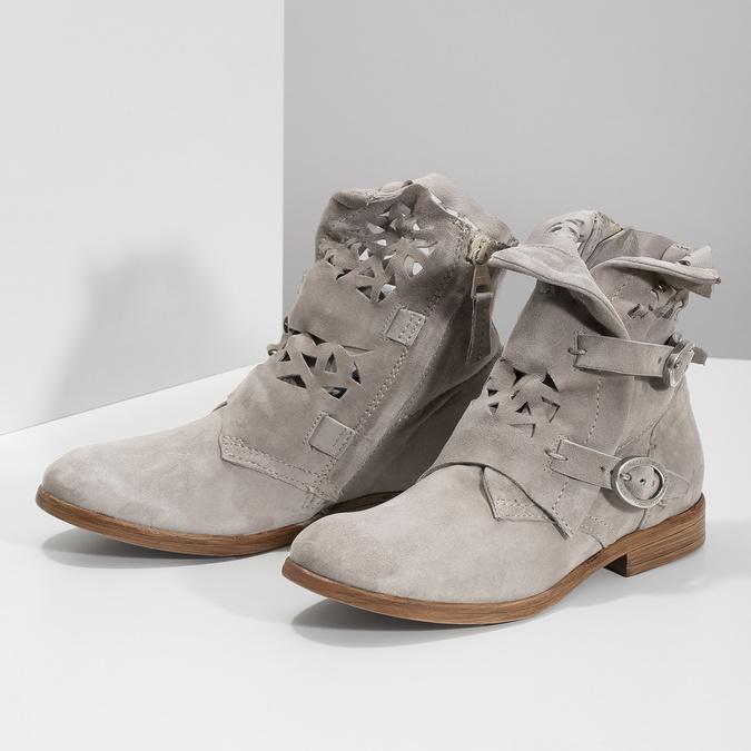 Kožené členkové čižmy s prestrihmi bata, šedá, 596-2689 - 16