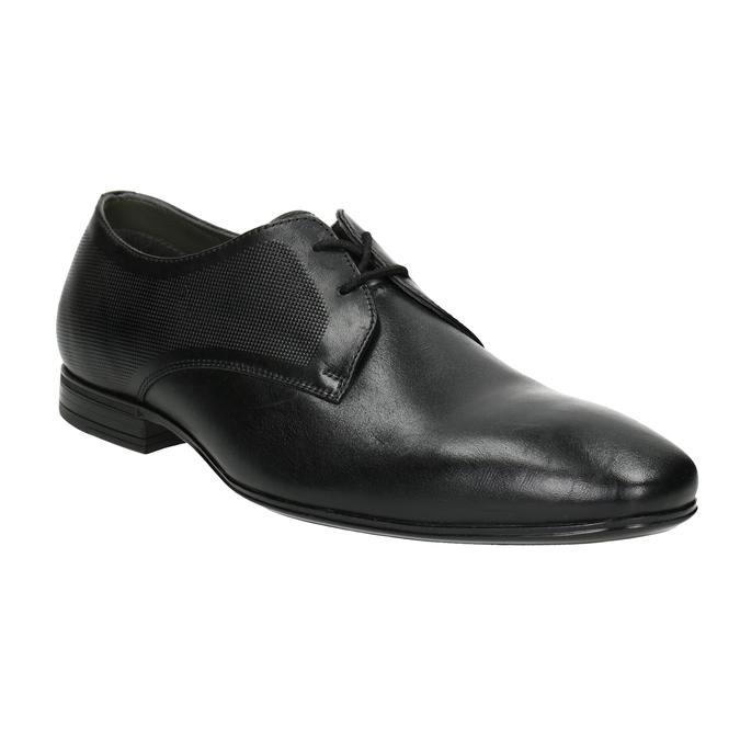 Čierne kožené Derby poltopánky so štruktúrou bata, čierna, 824-6945 - 13