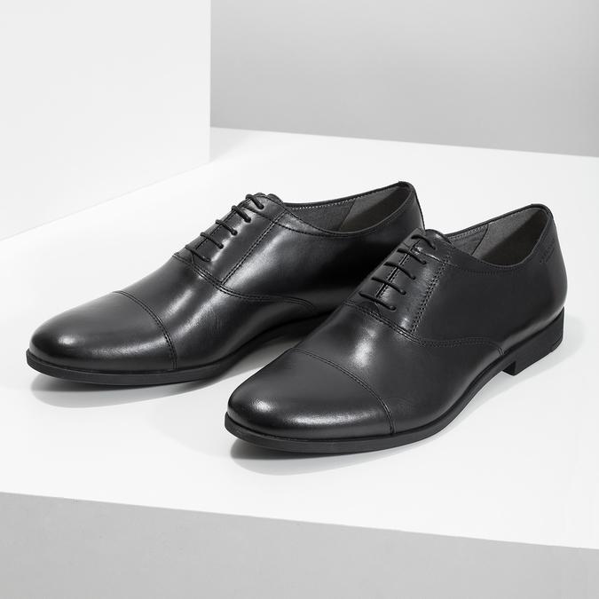 Čierne kožené Oxford poltopánky vagabond, čierna, 824-6048 - 16