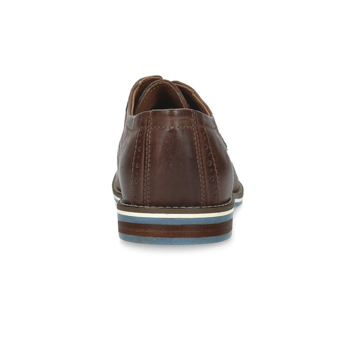 Hnedé kožené poltopánky s pruhovanou podošvou bata, hnedá, 826-4790 - 15