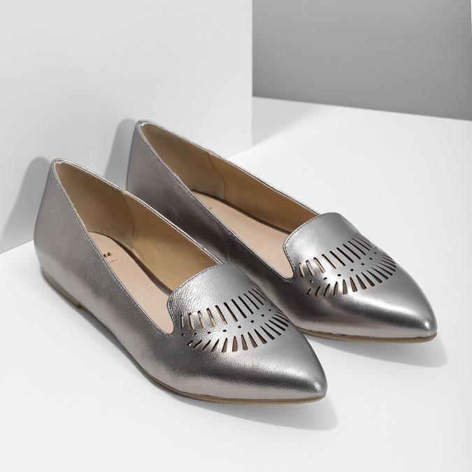 Dámska kožená obuv s perforáciou bata, 526-1659 - 26