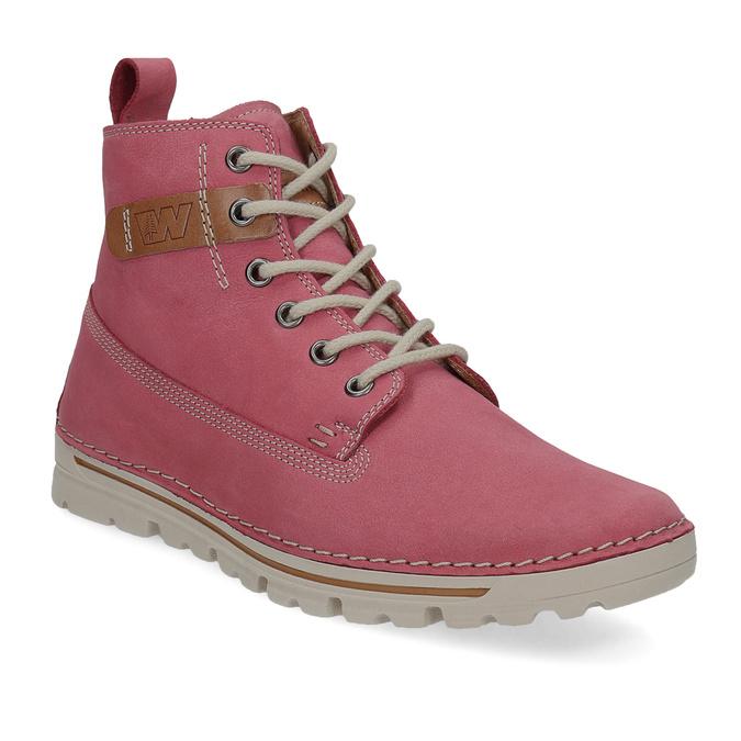 Kožená ružová členková obuv weinbrenner, 594-5666 - 13