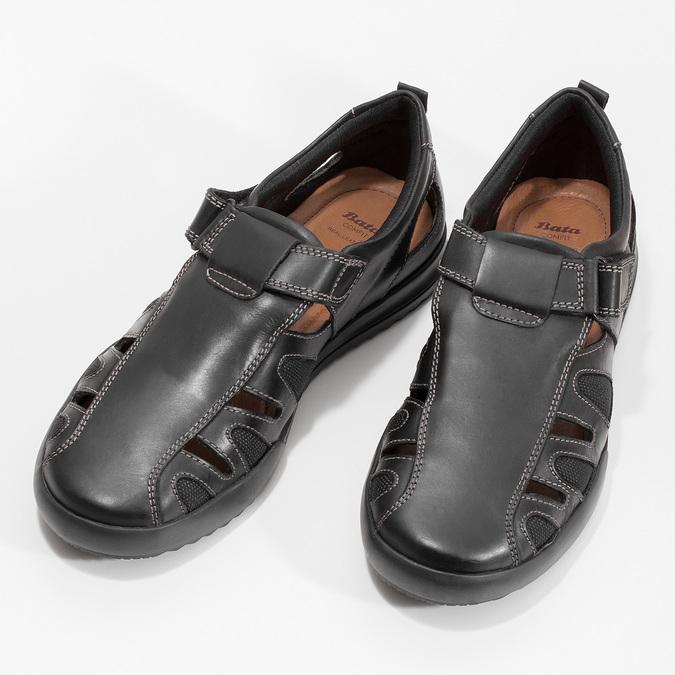 Pánske kožené sandále s prešitím comfit, čierna, 856-6605 - 16
