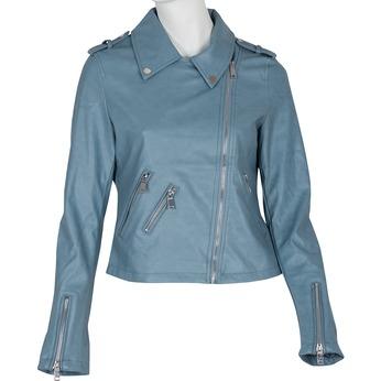 Modrá dámska kožená bunda so zipsami bata, modrá, 971-9198 - 13