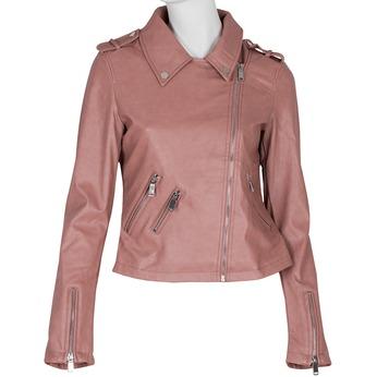 Ružová koženková bunda s golierom bata, ružová, 971-5198 - 13
