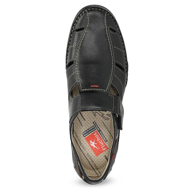 Kožené sandále s prešívaním fluchos, čierna, 864-6605 - 17