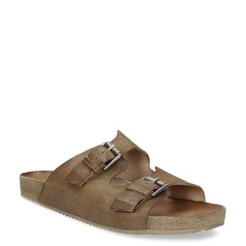 Pánske kožené nazuváky bata, hnedá, 866-4648 - 13