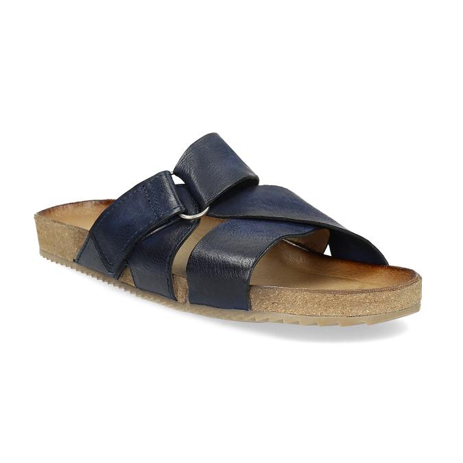 Kožené modré nazuváky bata, modrá, 866-9647 - 13