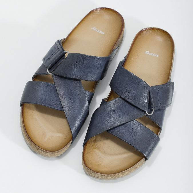Kožené modré nazuváky bata, modrá, 866-9647 - 16