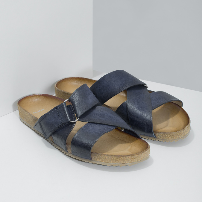 Kožené modré nazuváky bata, modrá, 866-9647 - 26