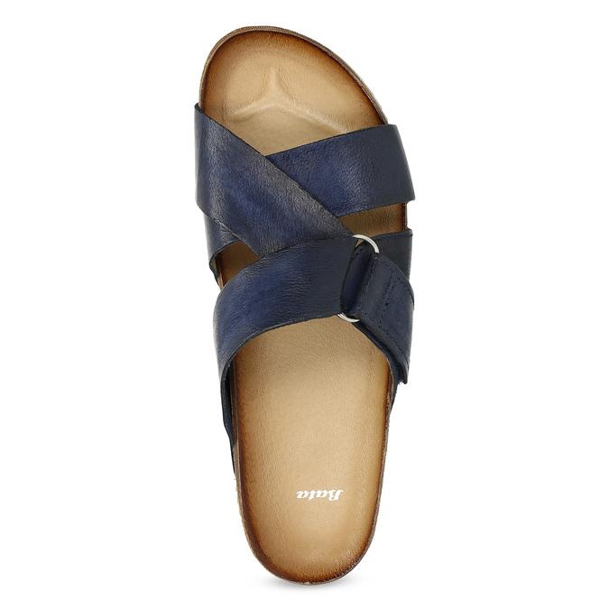 Kožené modré nazuváky bata, modrá, 866-9647 - 17