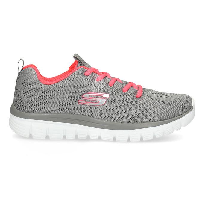 Dámske športové ružovo-šedé tenisky skechers, šedá, 509-2418 - 19