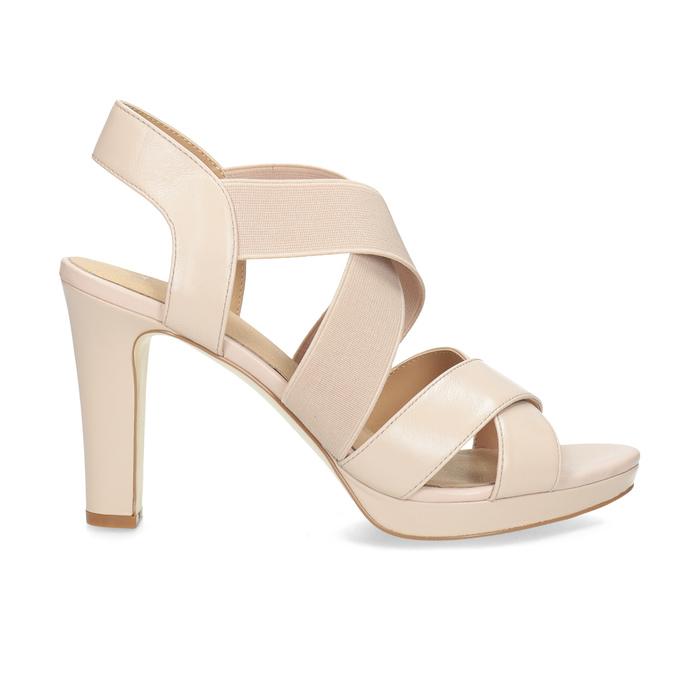 Béžové kožené sandále na stabilnom podpätku insolia, béžová, 766-8606 - 19