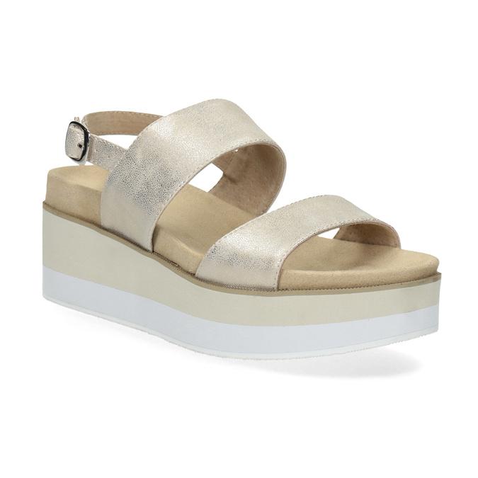 Béžové metalické sandále na flatforme bata, zlatá, 761-8632 - 13
