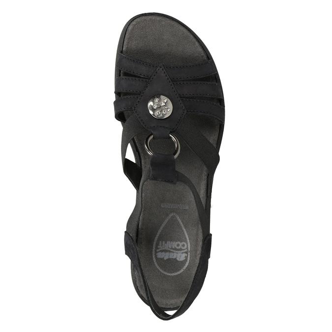Čierne dámske kožené sandále comfit, čierna, 666-6619 - 17