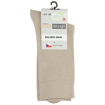 Vysoké pánske béžové ponožky matex, béžová, 919-8313 - 13