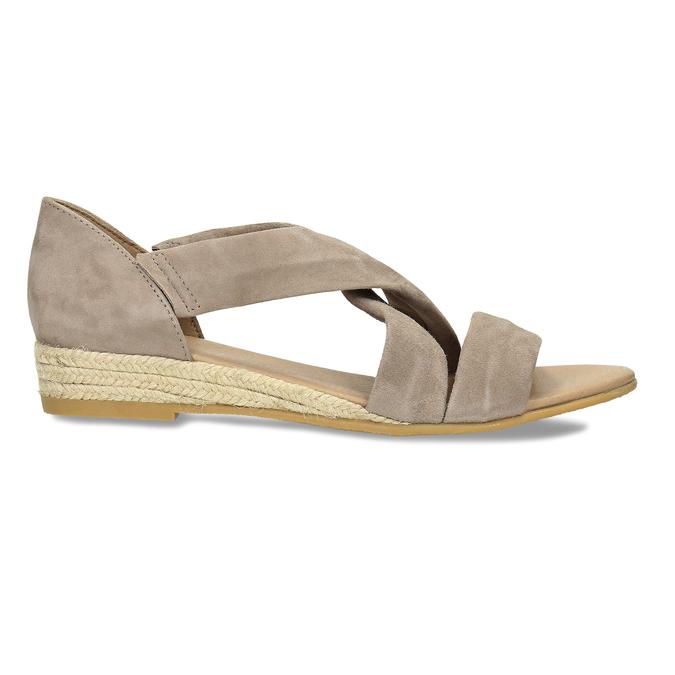 Kožené sandále na kline bata, hnedá, 563-4600 - 19