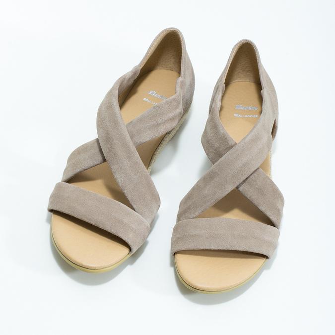 Kožené sandále na kline bata, hnedá, 563-4600 - 16