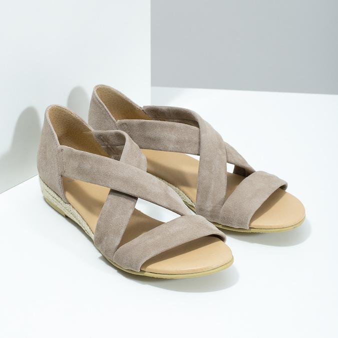 Kožené sandále na kline bata, hnedá, 563-4600 - 26