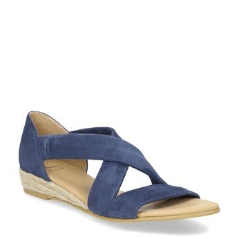 Kožené modré sandále na kline bata, modrá, 563-9600 - 13
