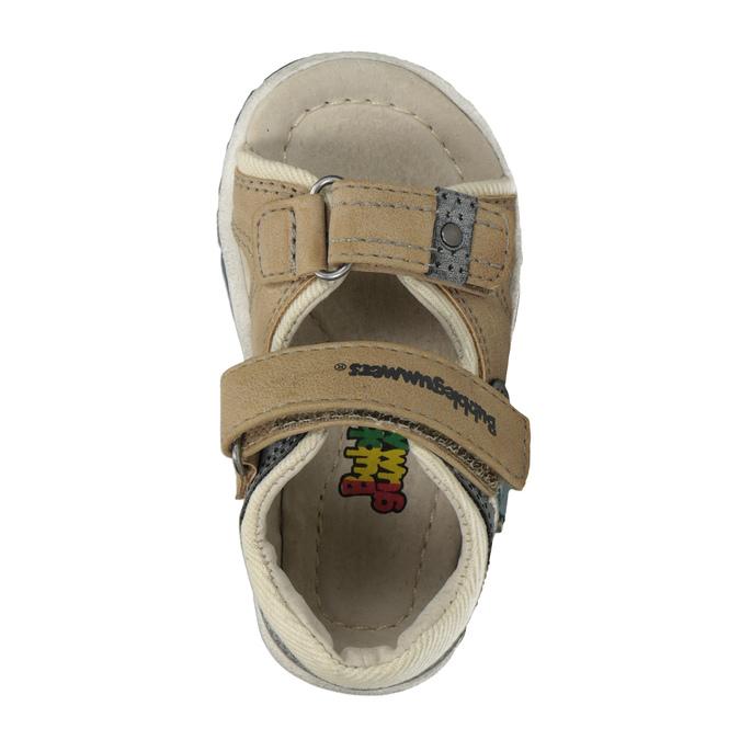 Detské sandále na suchý zips bubblegummers, hnedá, 161-3606 - 17