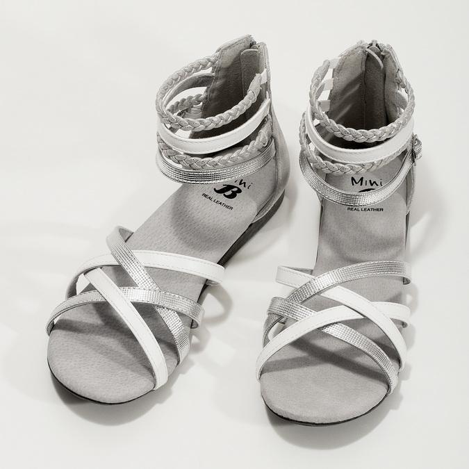 Bielo-strieborné dievčenské sandále mini-b, strieborná, 361-1605 - 16