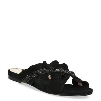 Čierne dámske nazuváky s volánom a kamienkami bata, čierna, 569-6602 - 13