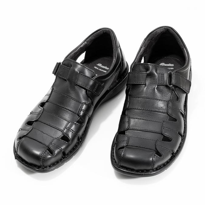 Pánske čierne kožené sandále bata, čierna, 864-6600 - 16