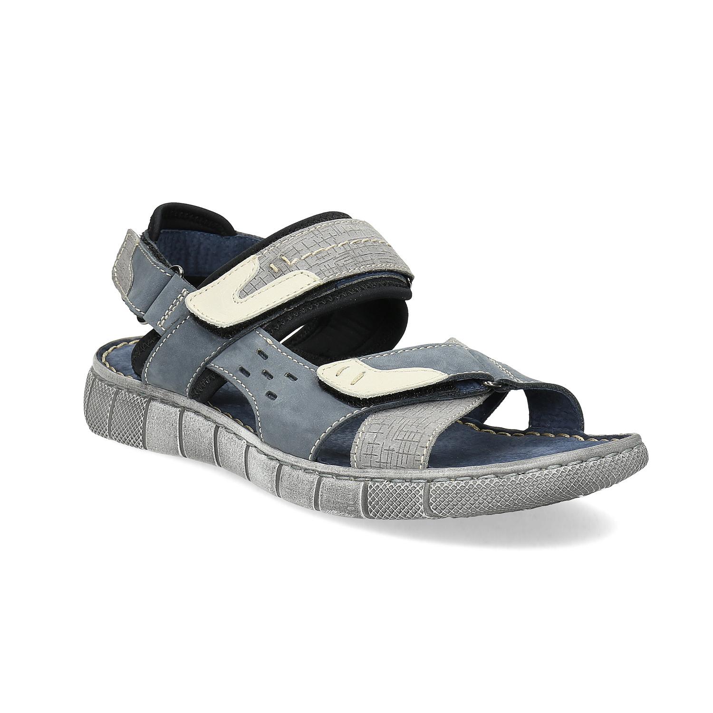 8326713cd65b Baťa Modré kožené pánske sandále na suchý zips - Letná kolekcia ...