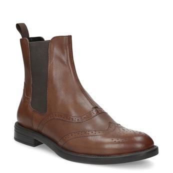 Dámska hnedá kožená Chelsea obuv vagabond, hnedá, 514-3002 - 13
