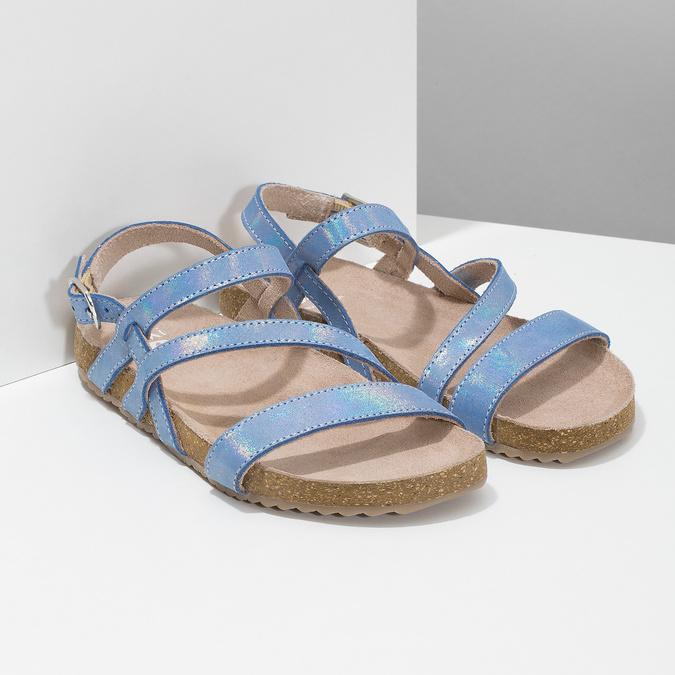 Dievčenské sandále s holografickými remienkami mini-b, modrá, 466-1609 - 26