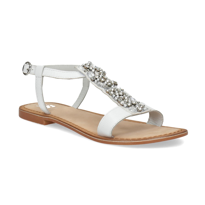 18324fc3d9dc Mini B Kožené dievčenské sandále s kamienkami na priehlavku ...