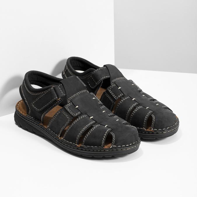 Pánske čierne kožené sandále s plnou špičkou bata, čierna, 866-6616 - 26