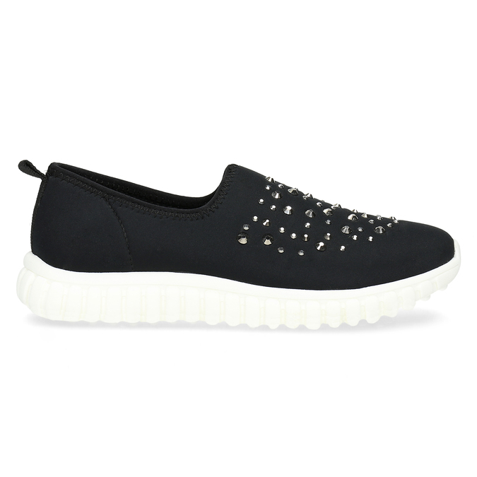 Dámska nazúvacia obuv s kamienkami bata-red-label, čierna, 539-6604 - 19