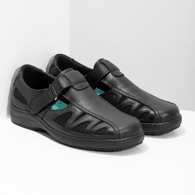 Pánske kožené sandále v elegantnom dizajne pinosos, čierna, 864-6625 - 26