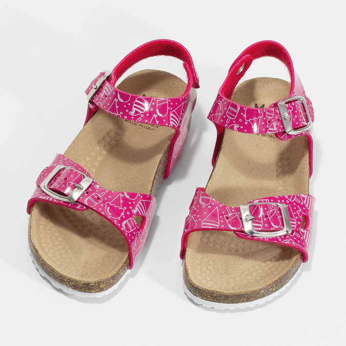Dievčenské ružové korkové sandále mini-b, ružová, 261-5209 - 16