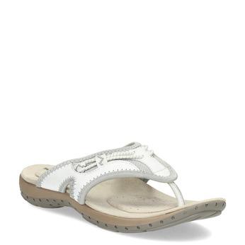 Dámske biele kožené žabky weinbrenner, biela, 566-1611 - 13