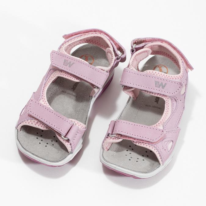 Dievčenské kožené sandále v Outdoor štýle weinbrenner, ružová, 366-5606 - 16