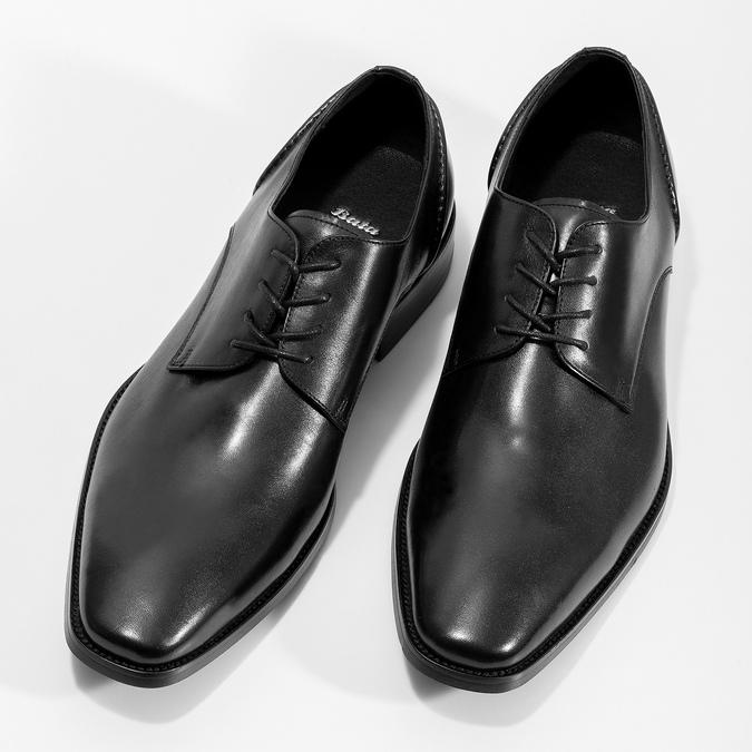 Čierne kožené Derby poltopánky bata, čierna, 824-6405 - 16