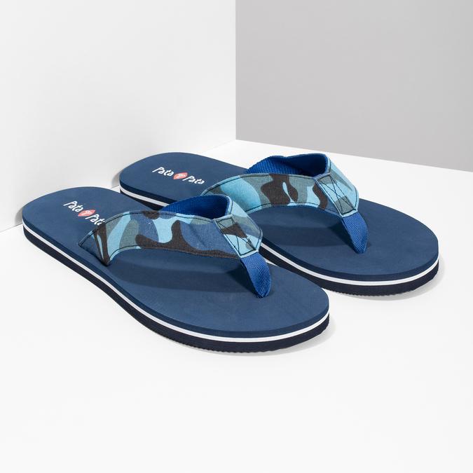 Pánske modré žabky s maskáčovým vzorom pata-pata, modrá, 879-9616 - 26