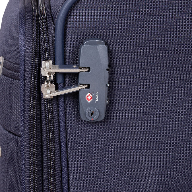Tmavomodrý menší textilný kufor na kolieskach samsonite, modrá, 960-9040 - 15